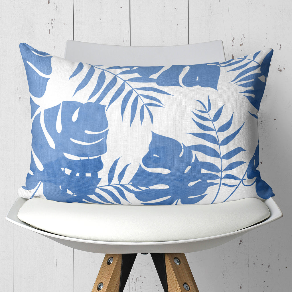 Palm Leaves Blue Tropical Throw Pillow in Rectangle Shape | Brandless Artist