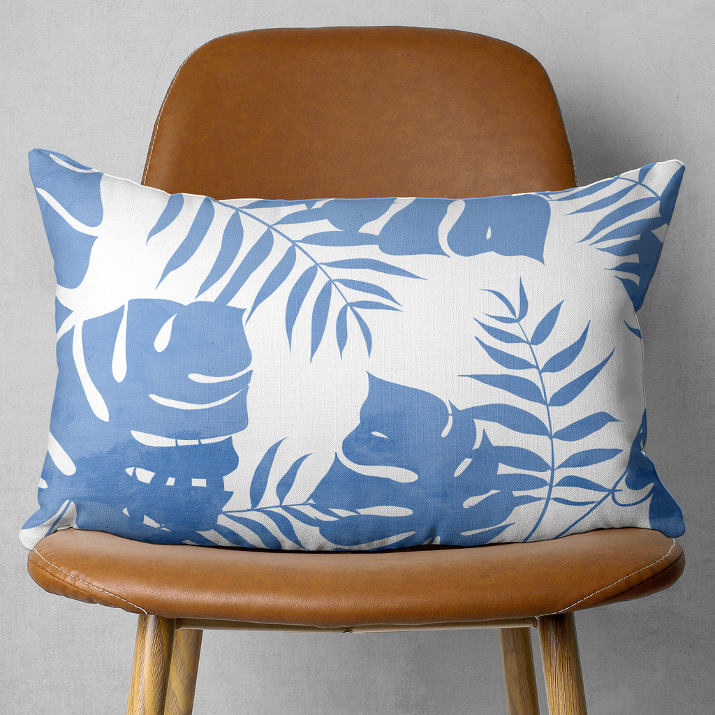 Blue Tropical Throw Pillow In Rectangle Shape - Linen or Microfiber | Brandless Artist