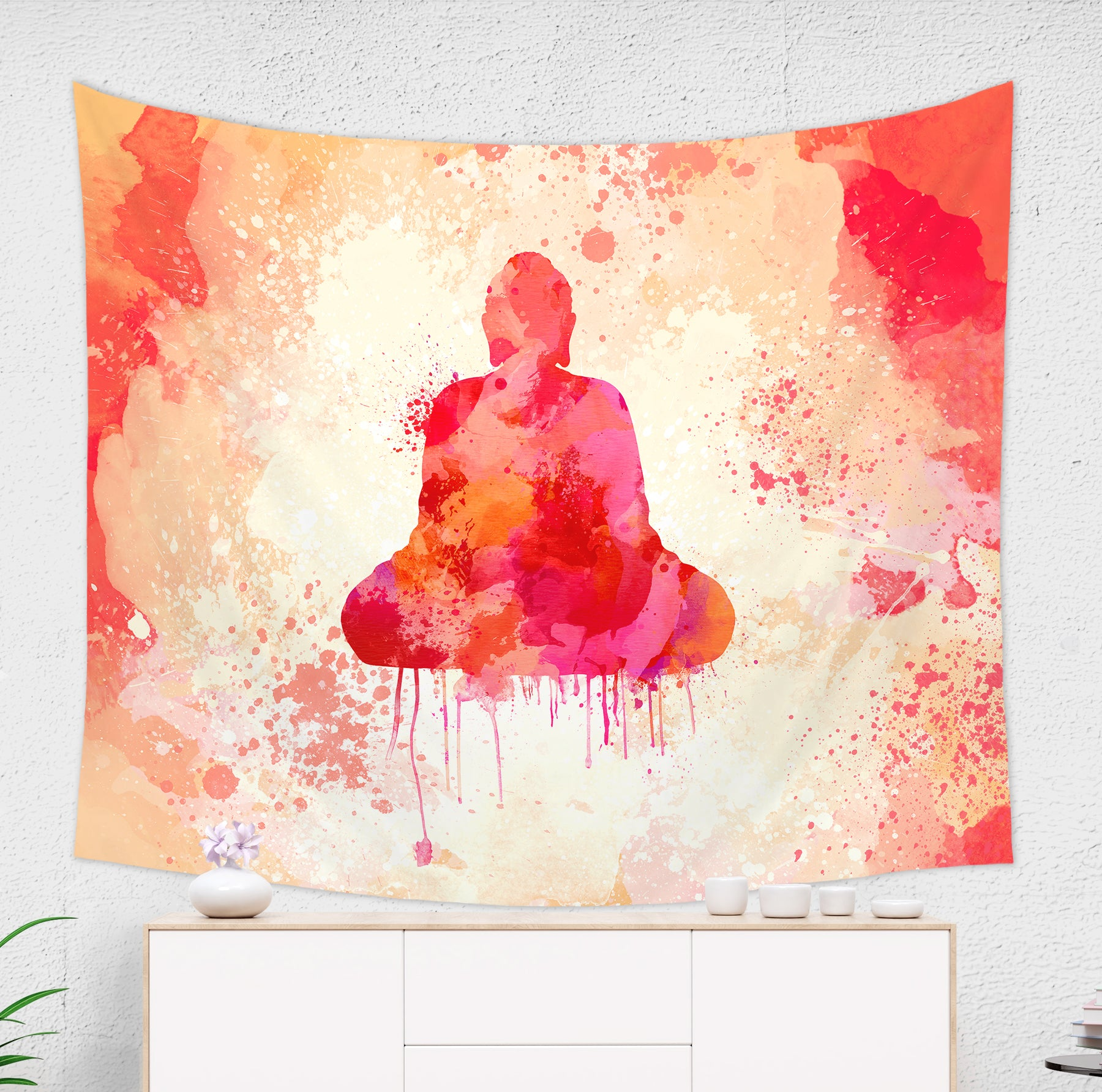 Red Meditating Buddha Tapestry - Brandless Artist