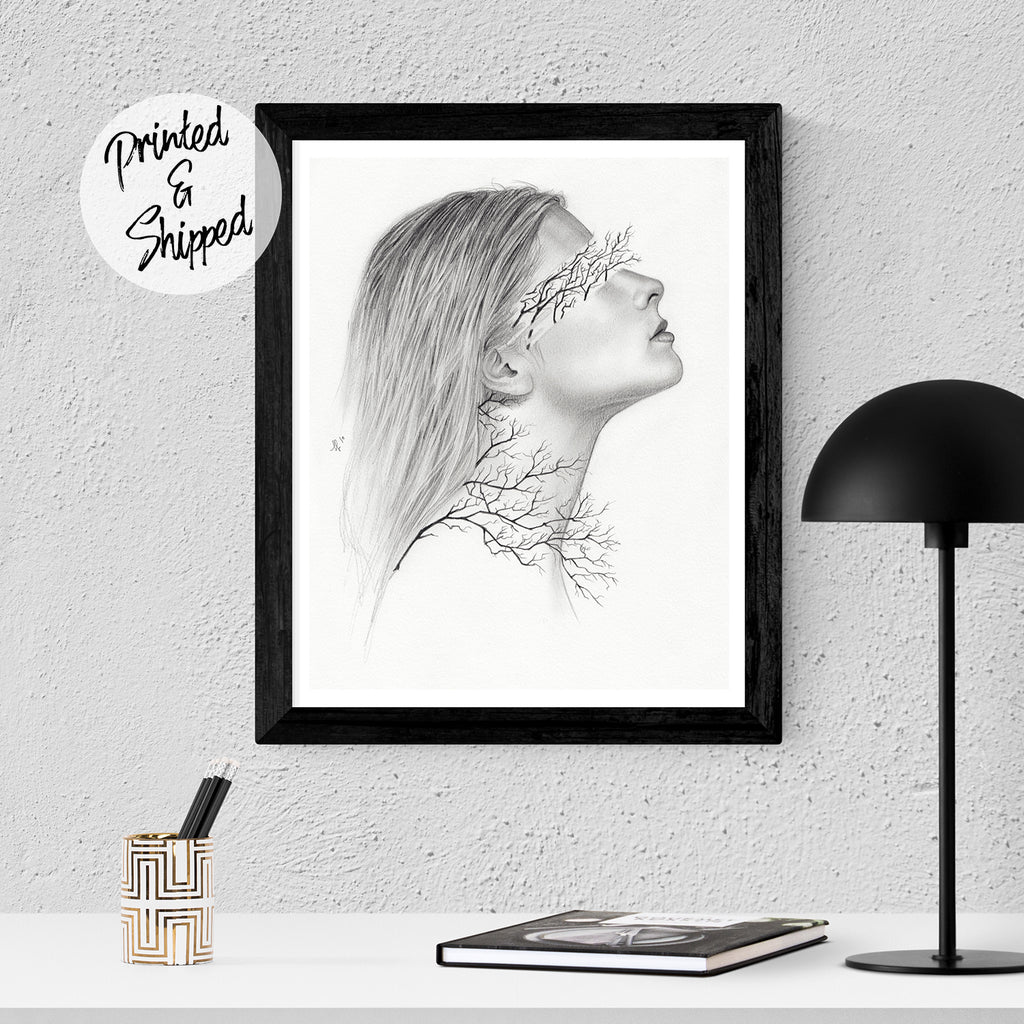 Blindly Surreal Print - Surrealist Portrait by Thubakabra | Brandless Artist