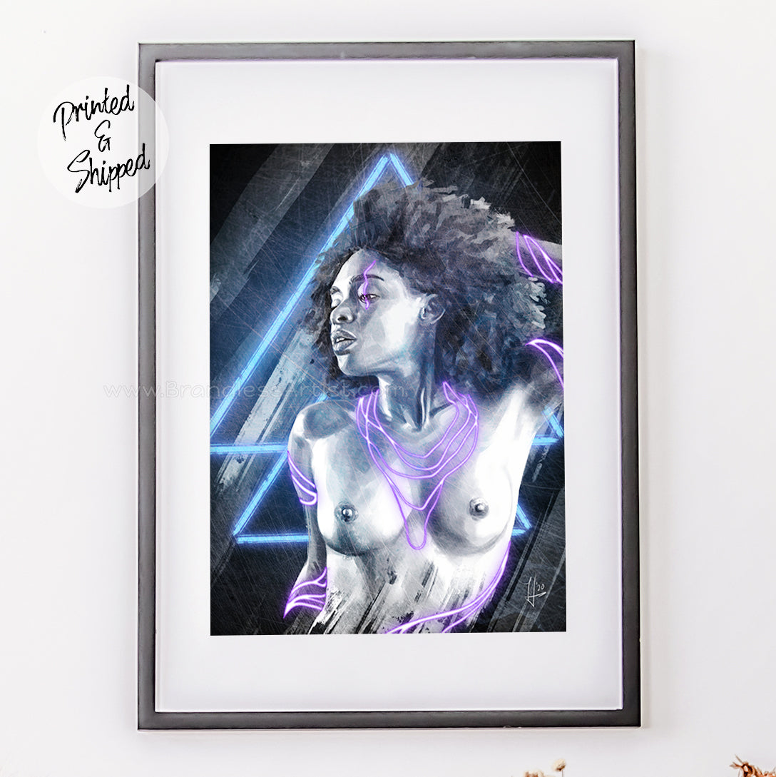 Neon Wish Naked Retro Girl Art Print in Frame | Brandless Artist