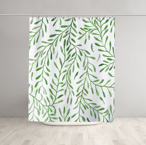 Greenery Shower Curtain Hanged in Room