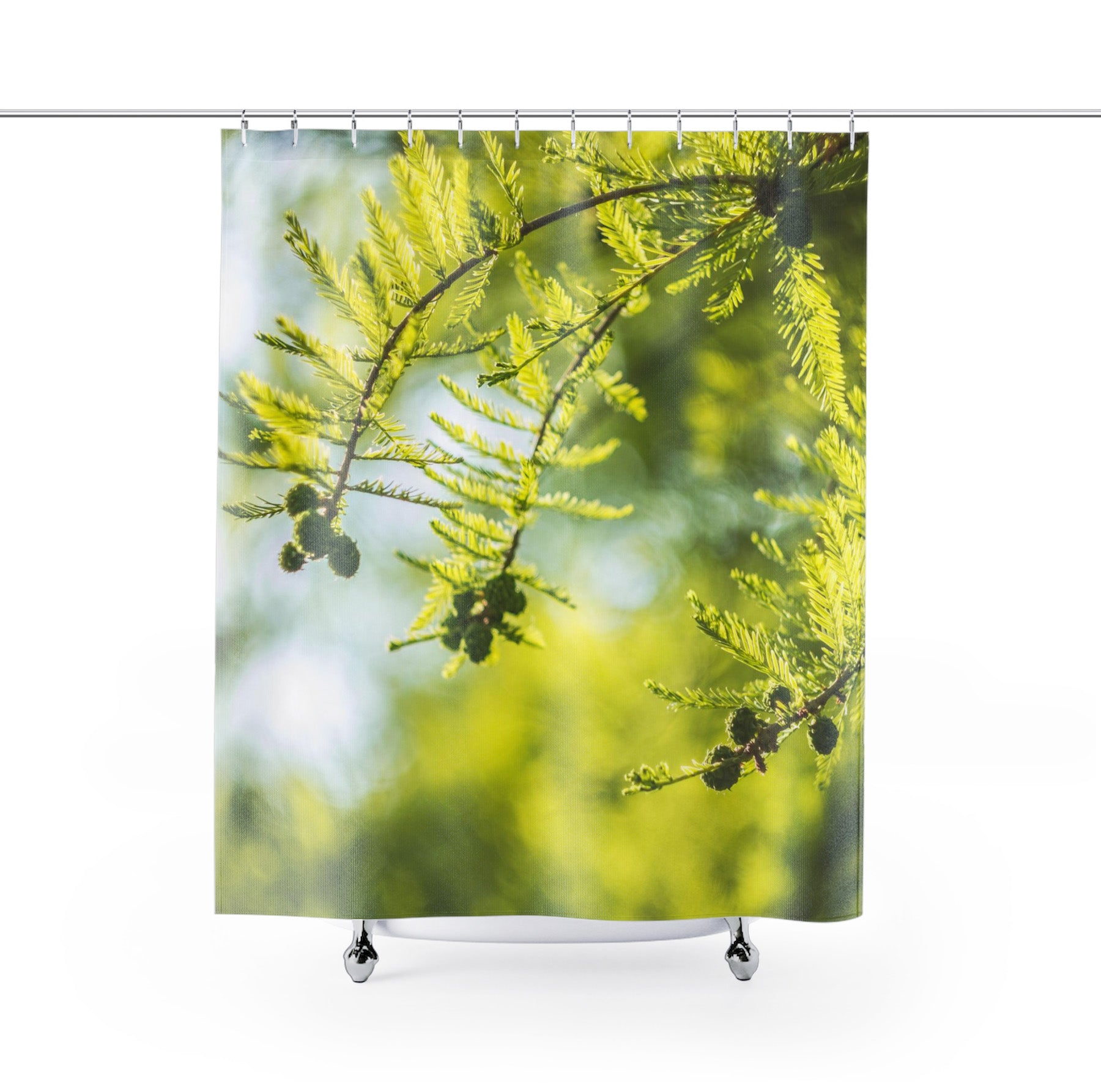 green nature shower curtain hanged