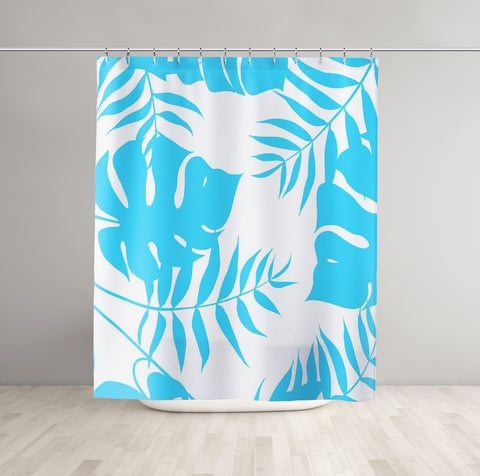blue tropical shower curtain in room
