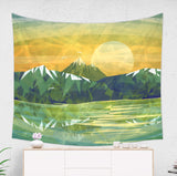 Rocky Mountain Tapestry - Yellow and Green Landscape Decor