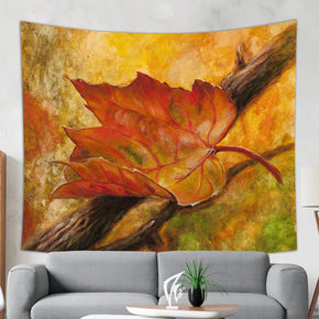 Fall Tapestry Browning Leaf Painting Wall Hanging, Orange and Brown | Brandless Artist