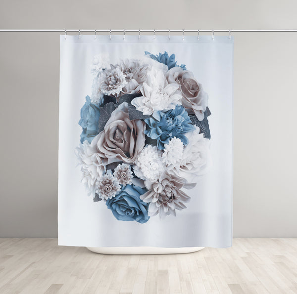 Blue Flower Bouquet Shower Curtain - Brandless Artist