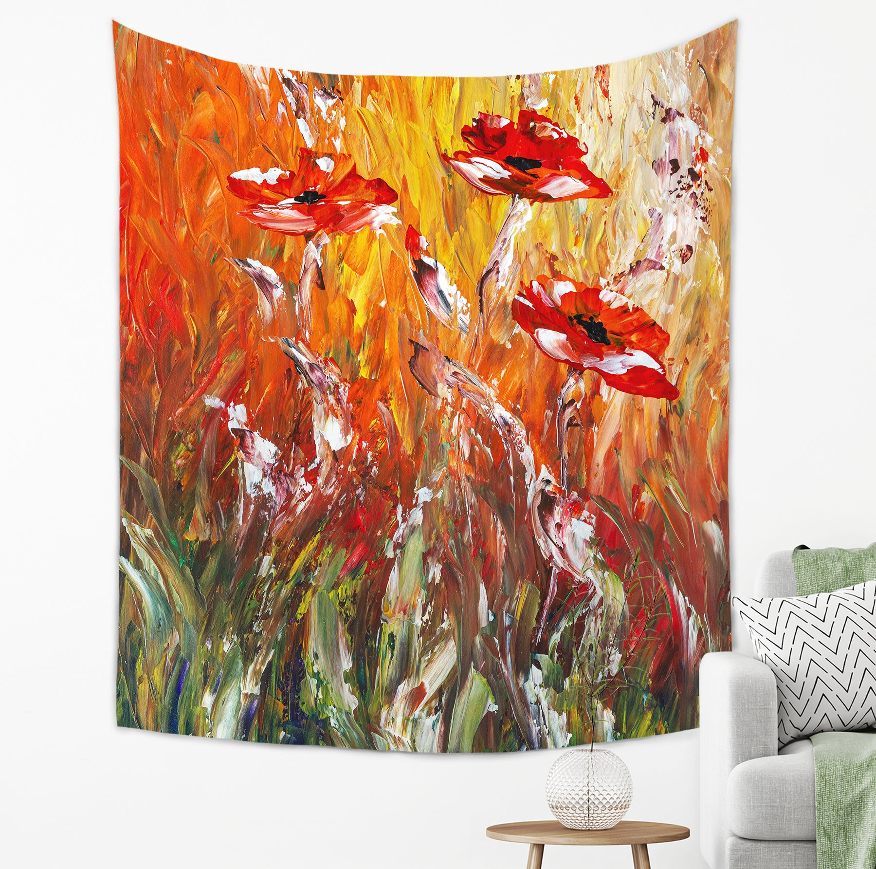 Red Flowers Tapestry - Brandless Artist