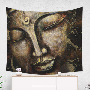 buddha tapestry hanged over a white commode