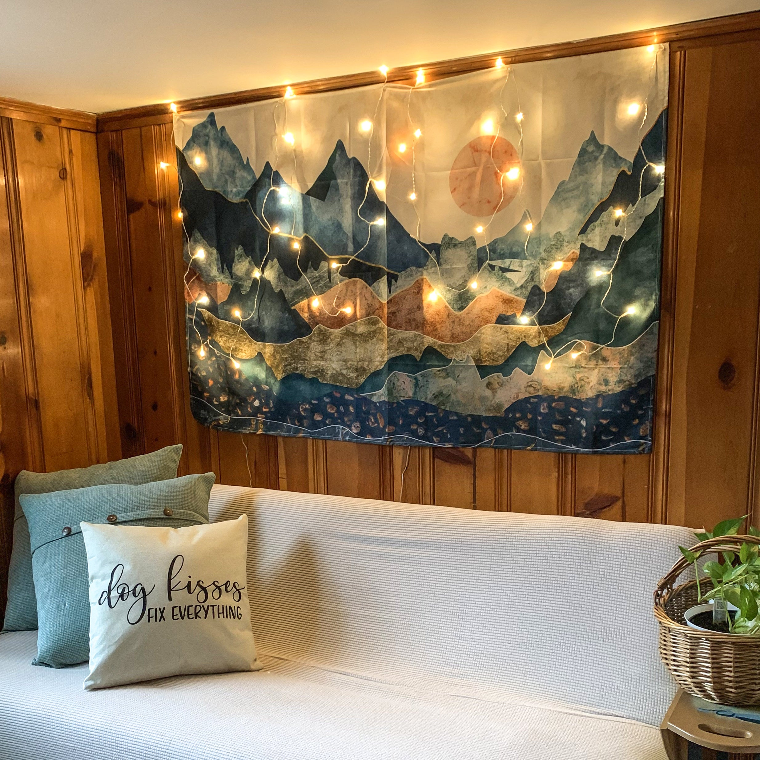 Boho Wall Decor with Decorative Lights on Wooden Wall | Brandless Artist