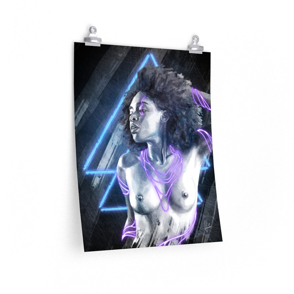 Black Woman Erotic Art Print with Neon Lights | Brandless Artist