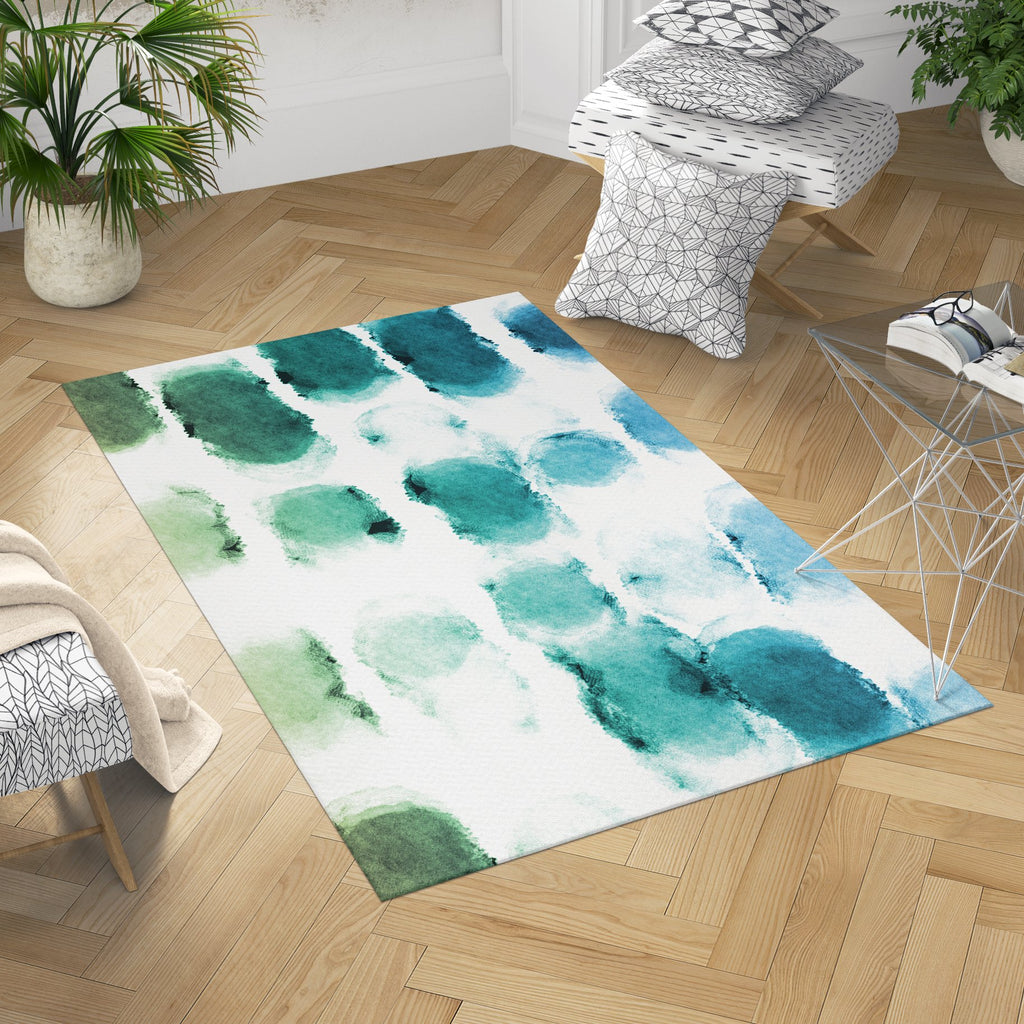 Watercolor Area Rug - Blue Washable Rug | Brandless Artist