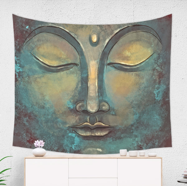 rustic buddha tapestry with relaxing vibes hanged on wall
