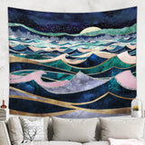 Moonlit Ocean Tapestry - Wild Waves Wall Hanging | Brandless Artist