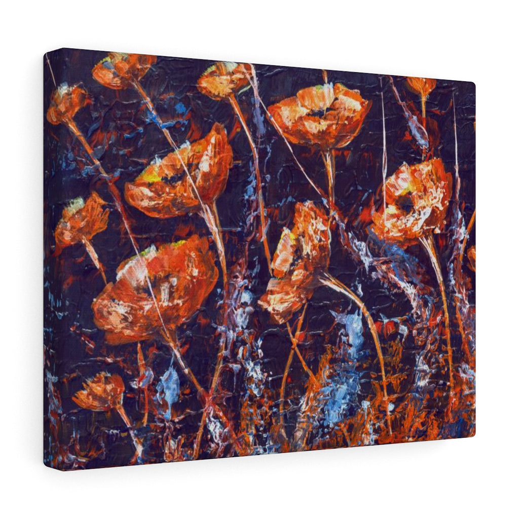 Poppy Canvas Art Inspired Wall Hanging by Real Artist, Blue and Red | Brandless Artist