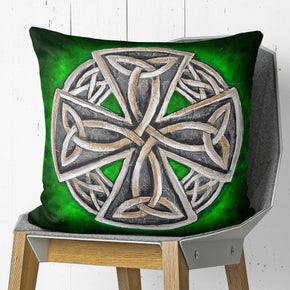 Celtic Cross Pillow Green Irish Couch Pillow for Sofas | Brandless Artist