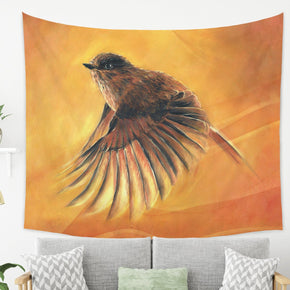 Bird Tapestry Orange Wall Hanging for Bird Lovers | Brandless Artist