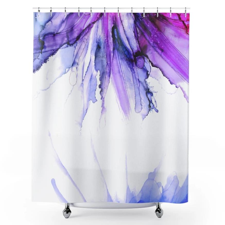 Purple and Blue Shower Curtains Abstract Bathroom Decor | Brandless Artist