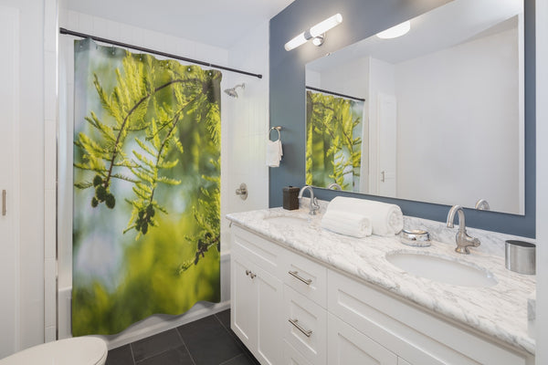 nature shower curtain in bathroom