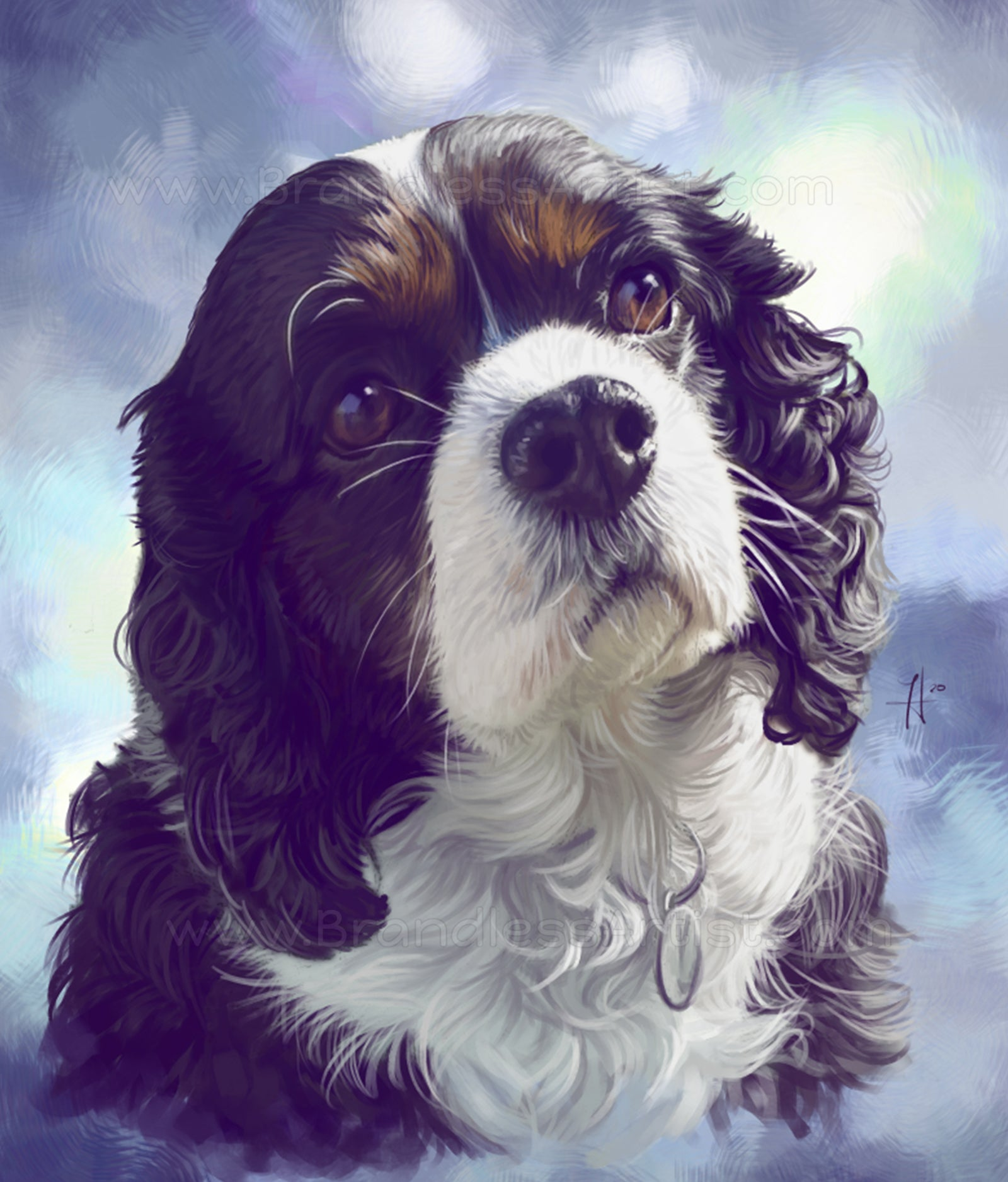 Custom Dog Portrait - Spaniel Painting from Photo | Brandless Artist