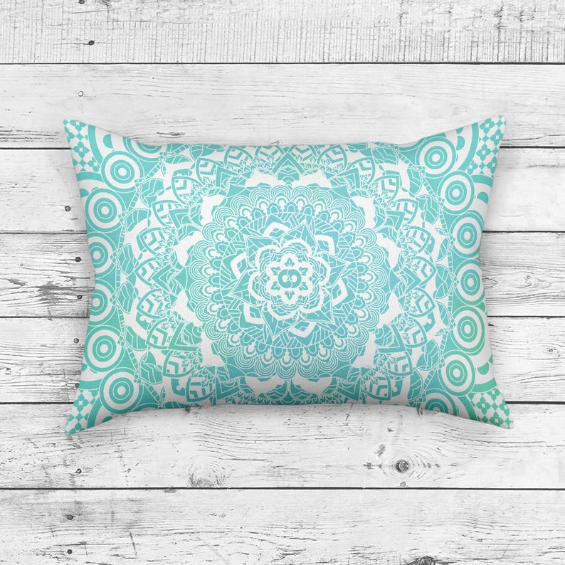 Turquoise Pillow in Rectangle Shape - Mandala Home Decor