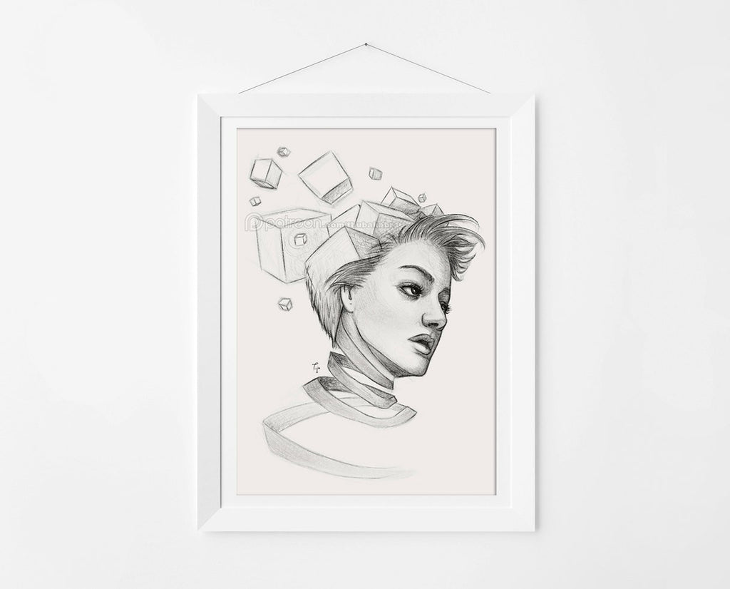 Thoughts Surreal Art by Thubakabra, a Black and White Drawing Fine Art Print - Brandless Artist