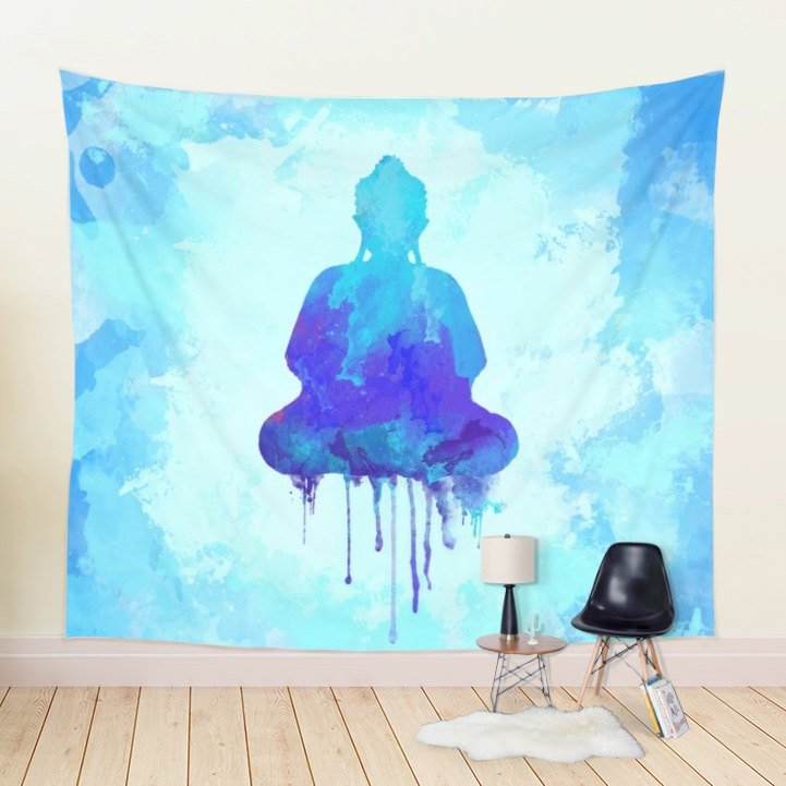 Meditating Buddha Tapestry Watercolor Wall Hanging, Blue | Brandless Artist