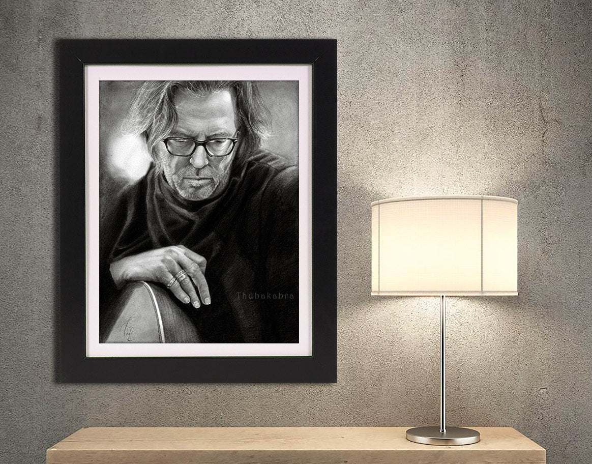 Eric Clapton Poster | Large Clapton Drawing Wall Art | Large Musician Print | Black White Print of Eric Clapton - Brandless Artist