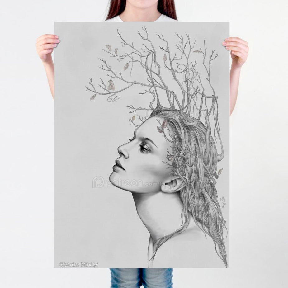 LARGE wall ART, Art nouveau PRINT of a digital illustration, surreal digital painting, Autumn love, November branches quality matte print - Brandless Artist