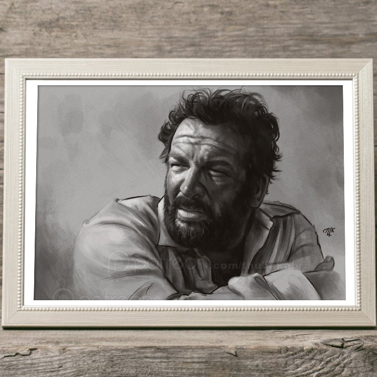 Bud Spencer art PRINT, printed digital painting, GICLEE PRINT, Spencer remembrance poster, black white wall art decoration, tribute - Brandless Artist