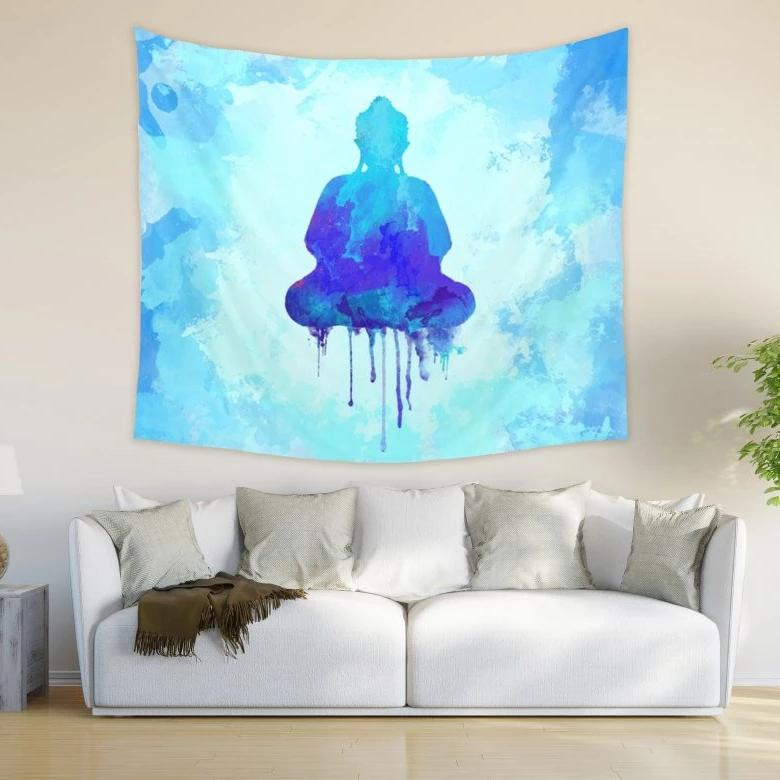Buddha Wall Tapestry, Spiritual Home Decor in Blue Color | Brandless Artist