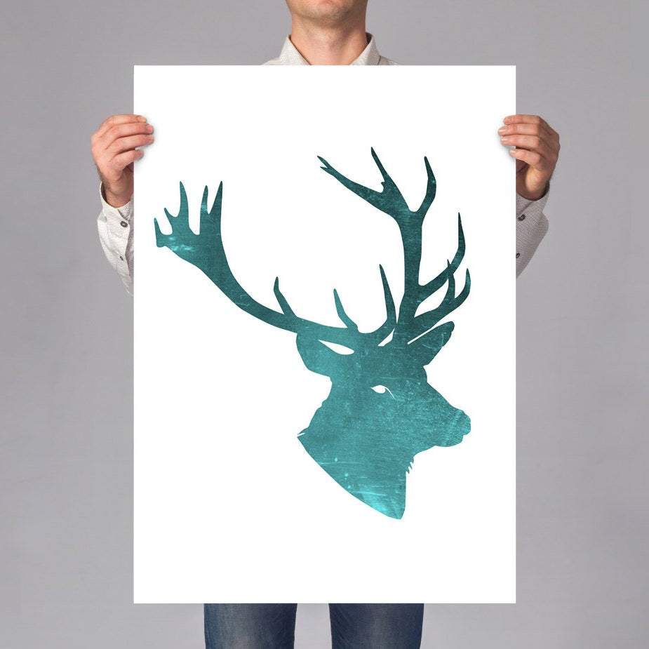 LARGE wall ART Deer Stag art print, wild animal illustration, animal portrait, minimal deer portrait on thick white paper, blue cabin decor - Brandless Artist