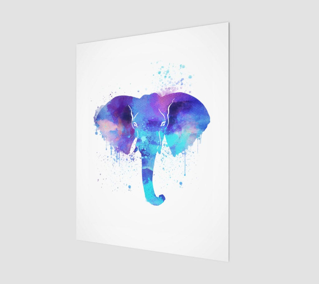 Watercolor Elephant Print | Blue Elephant Wall Art for Her | Wild Elephant Portrait Art Print | African Animal Portrait for Elephant Lovers - Brandless Artist