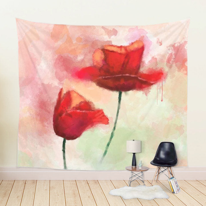 Red Poppies Tapestry - Brandless Artist