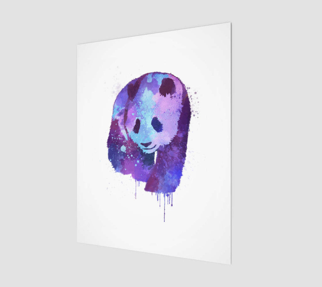 Watercolor Panda Print | Purple Blue Panda Wall Art Decor | Large Panda Bear Wall Decor for Her | Watercolor Painting for Panda Lovers - Brandless Artist