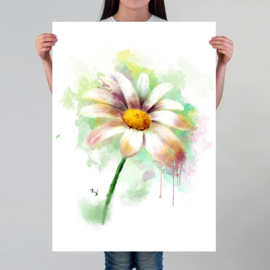 Daisy Print Flower Wall Art | Watercolor Flower Wall Decoration | Flower Prints for Her | Colorful Watercolor Painting of a Daisy Flower - Brandless Artist