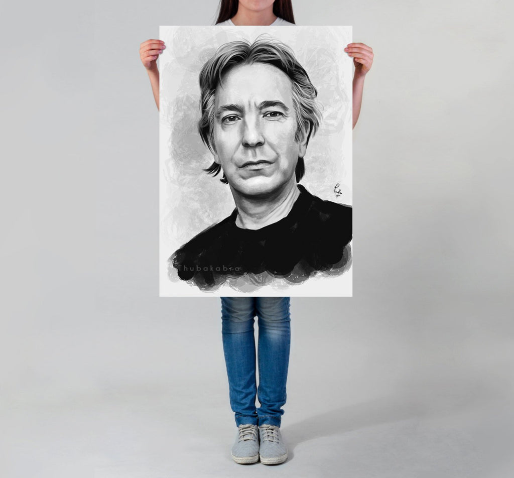 Alan Rickman Poster Large Art Print, Inspired Fanart Digital Painting | Brandless Artist