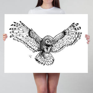 Owl Print | Large Owl Drawing Art Print | Hunting Owl Poster in Black and White | Owl Illustration Hunter Cabin Decoration Owl Lover Gift - Brandless Artist