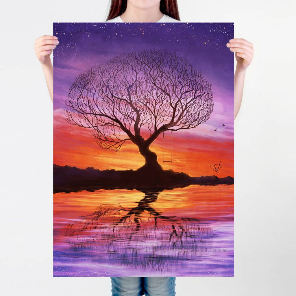 Tree silhouette Large wall art PRINT of a digital painting, relaxing illustration, colorful sunset landscape, wall art, decorative poster - Brandless Artist