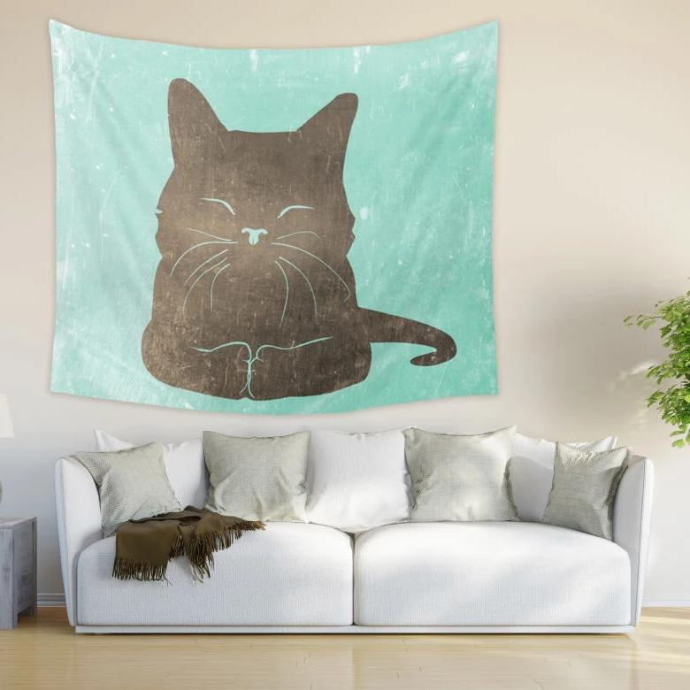 Cute Cat Tapestry for Kids Room, Fun Green Wall Hanging | Brandless Artist