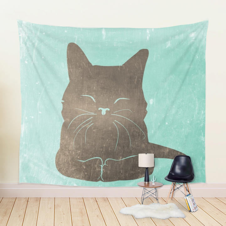 Kitten Wall Hanging Playful Home Decor in Green and Brown Colors | Brandless Artist
