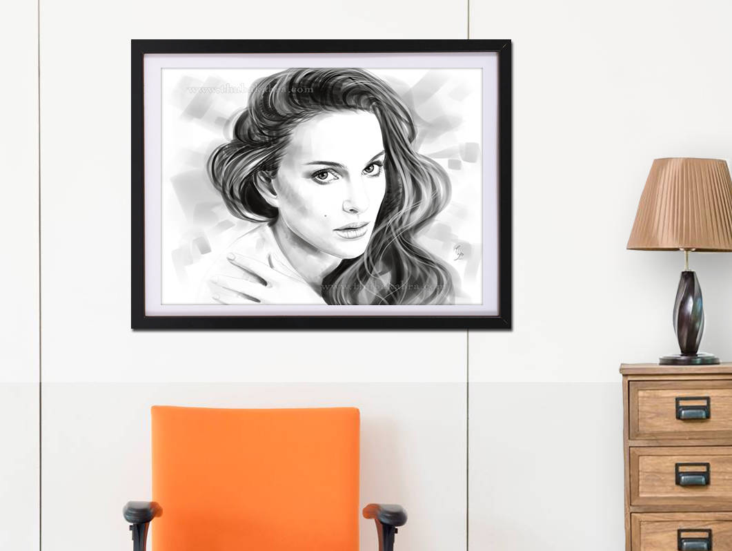 Natalie Portman Print | Fanart of Natalie Portman Wall Art | Black and White Portrait of Natalie | Natalie Movie Star Poster - Brandless Artist