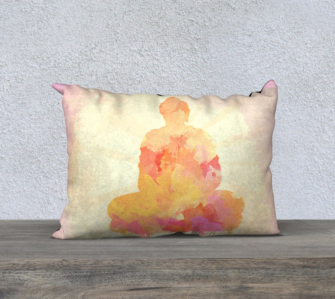 Buddha Cushion in Rectangle Shape, Zen Home Decor, Yellow | Brandless Artist