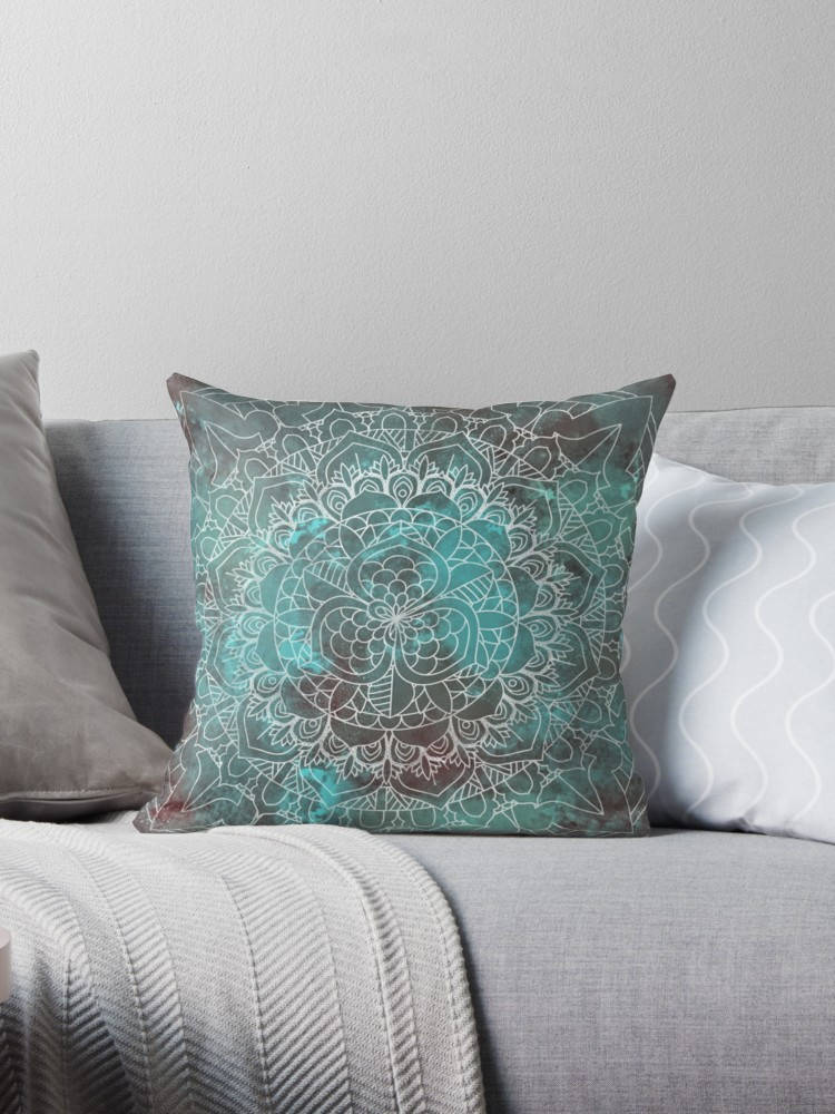 Rustic Pillow Cover - Green Zen Mandala Cushion | Brandless Artist