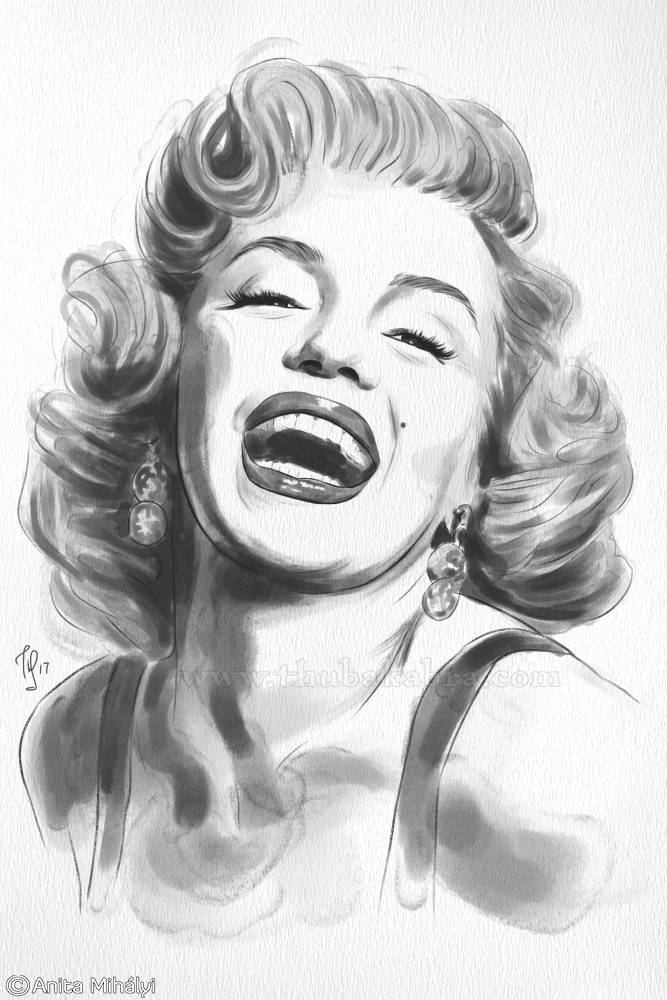 Marilyn Monroe Print | Old Hollywood Art Print | Old Hollywood Star Art Poster | Black and White Laughing Monroe Poster - Brandless Artist