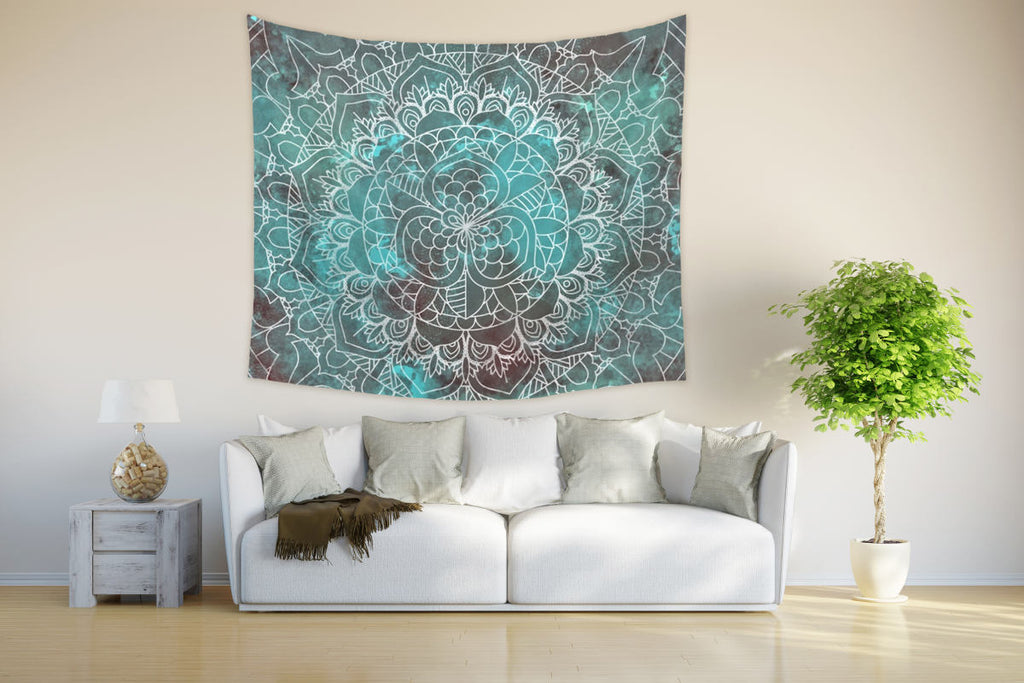 Hippie Mandala Tapestry for Zen Home with Cyan and Brown Colors | Brandless Artist