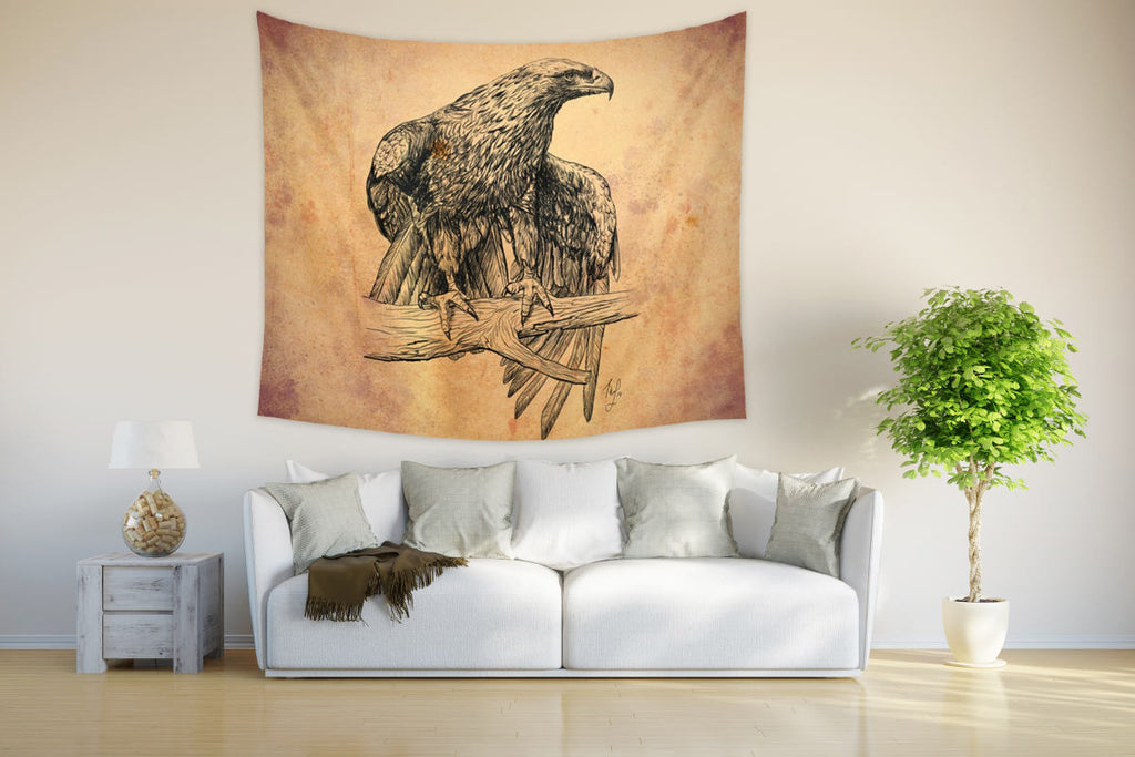 Falcon Drawing Tapestry Large Wall Decor | Brandless Artist
