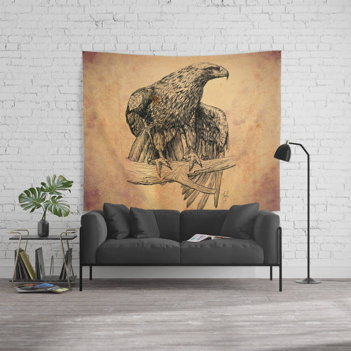 Falcon Tapestry Hunter's Cabin Decor in Orange and Brown Color | Brandless Artist