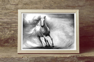 Horse Drawing Art PRINT, GICLEE PRINT, Horse Pencil Drawing Poster, Galloping Horse Illustration, Photorealistic Horse Art, Gift for Riders - Brandless Artist