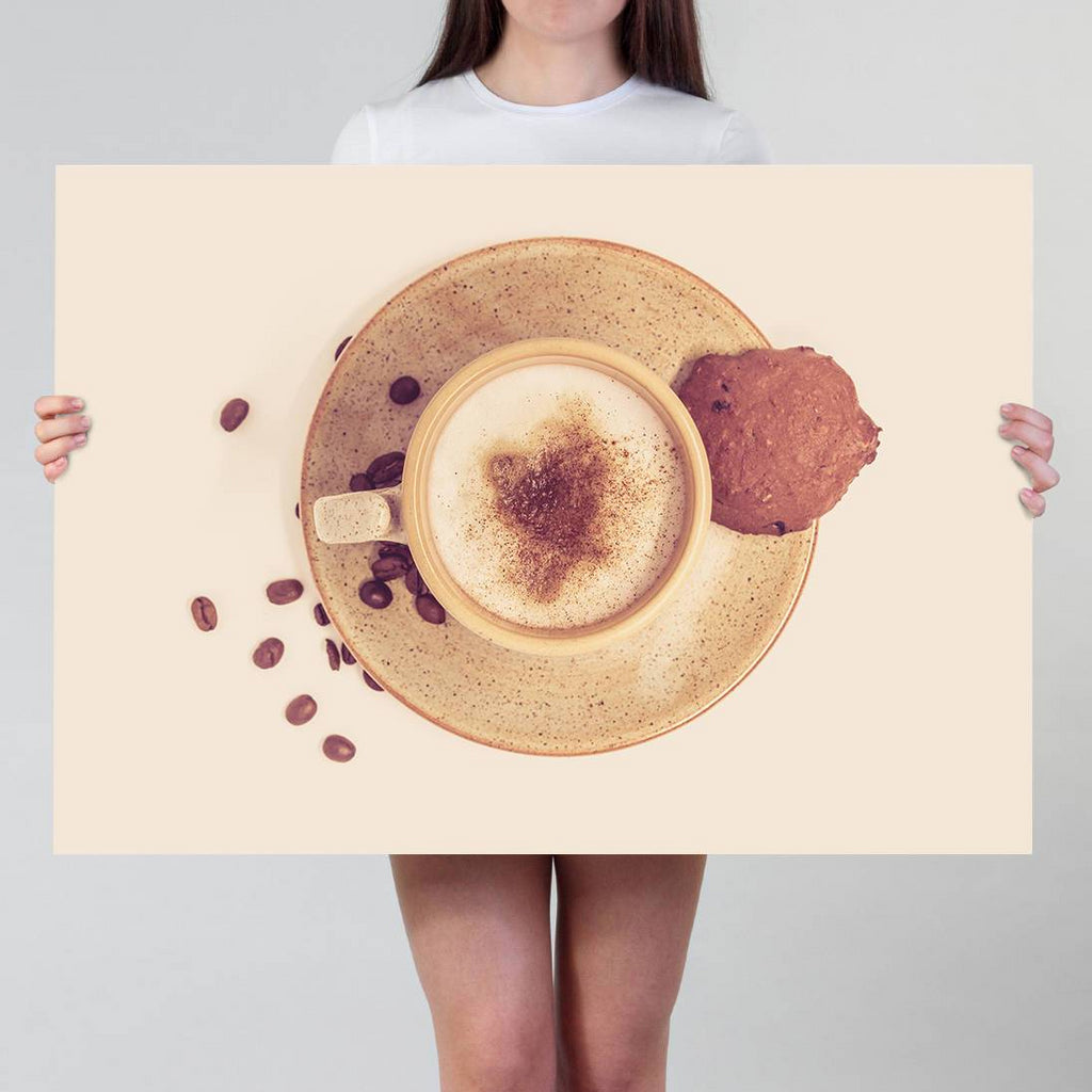 Coffee Print | Cappuccino Photography Print for Coffee Lovers | Caffeine Pub Decor | Large Coffee Wall Art for Coffeeholics - Brandless Artist